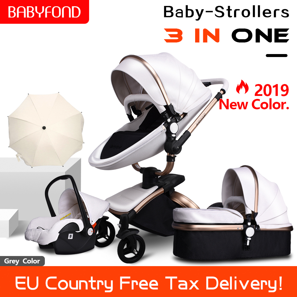 Free Ship ! Leather 3 In 1 Baby Stroller Two-way Suspension  2 In 1 Stroller EU Safety Car Seat Newborn Bassinet Send Umbrella