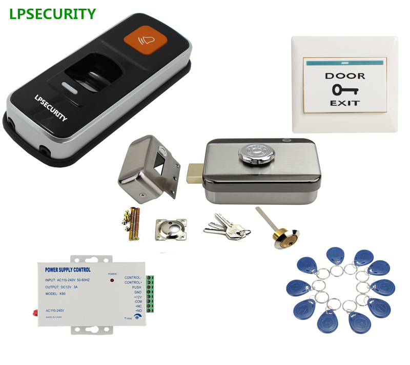 LPSECURITY standalone fingerprint RFID access control reader electric wooden steel gate door MUTE lock kit with 10 tags lpsecurity battery powered 12vdc 13 56 ic rfid reader electric gate door lock access control system kit with 10tags or tm tag