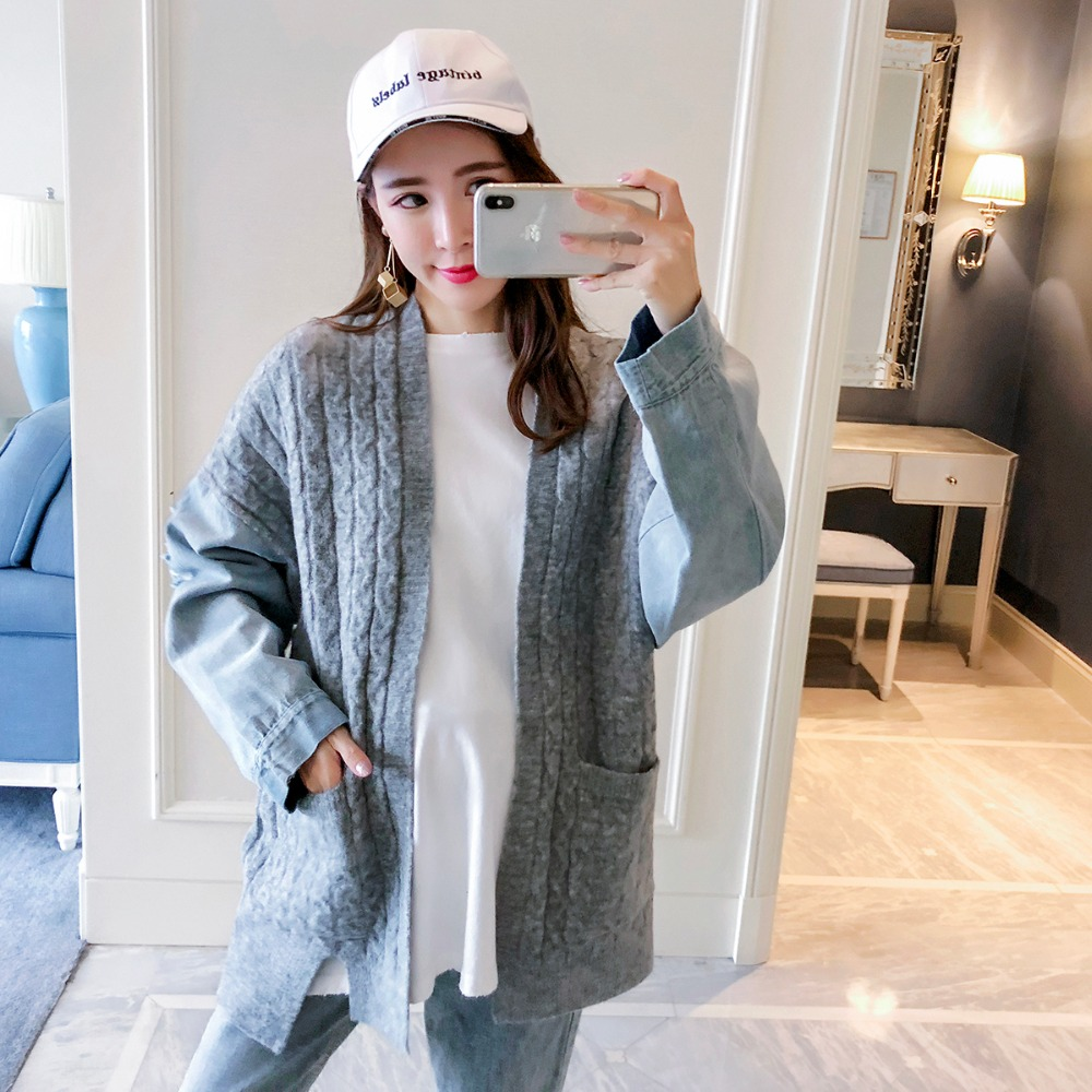 Pregnant women wear 2018 new fashion large size cardigan sweater stitching denim maternity