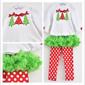 Hot sale Autumn Winter Children clothing Baby Kids Girls Clothes Sets HQ Cotton Christmas Tree T shirt+Dot Pants Pajamas Casual