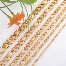 Gold Color 6.0mm Width Stainless Steel Figaro Chain Men Curb Link Chains