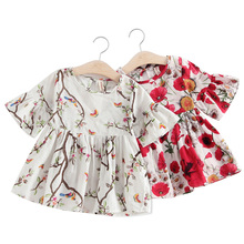 Floral Print Baby Girl Dress Flower Princess Short Sleeve