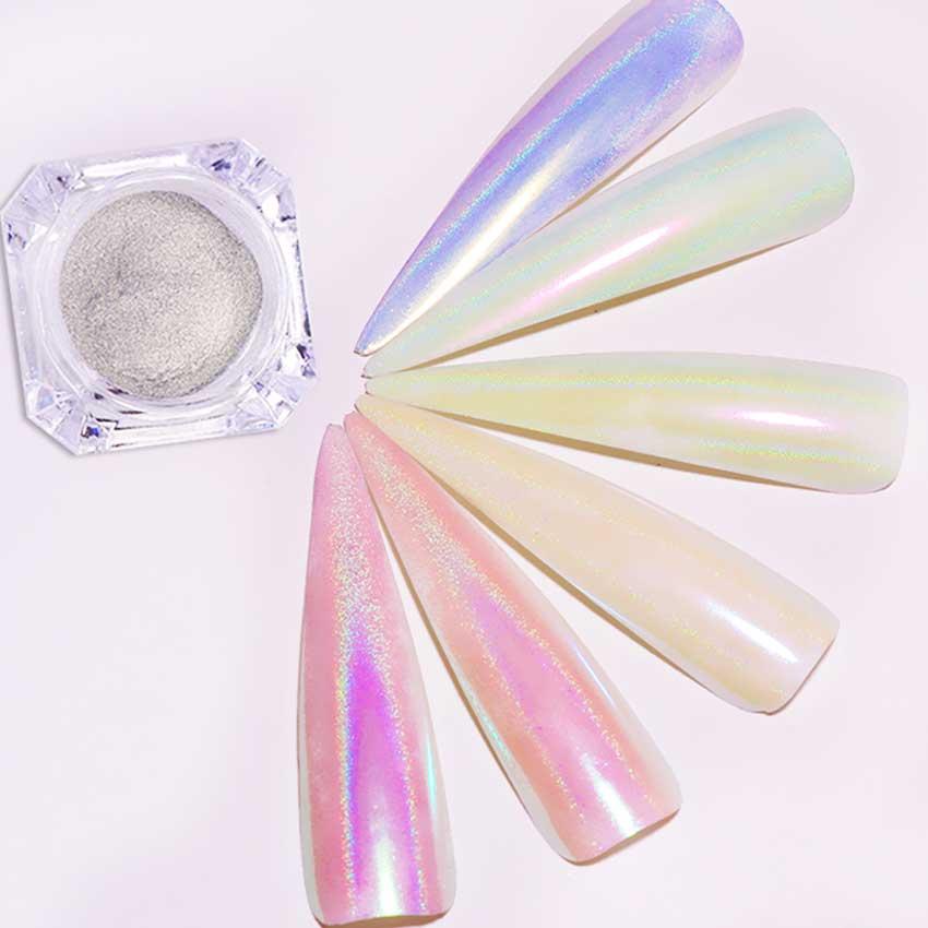 0,2g Holographische Meerjungfrau Nagel Pulver Glitters Laser Glänzende Spiegel Perle Nagel Chrom Pigmente Staub Nagel Kunst Dekoration