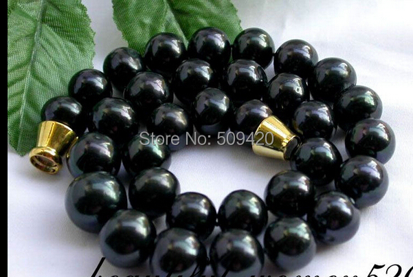 """Ожерелье w и O658 > блеск 1"""" 13 мм круглый таити черный FWF перлы магнит"""