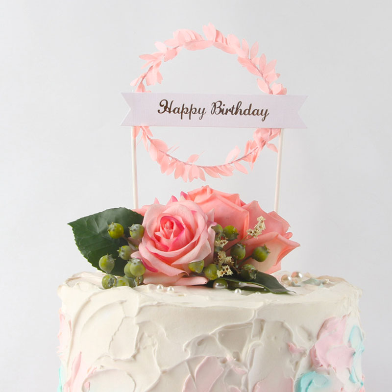 2Pcs/lot Sweet Love Leaves Garland Pink Cake Toppers Happy Birthday Cake Flag Dessert Table Cake Decoration For Birthday Wedding birthday cake