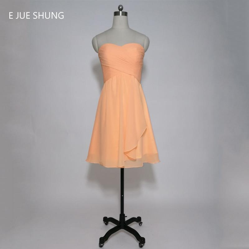E JUE SHUNG Orange Chiffon Short   Bridesmaid     Dresses   2017 Sweetheart A-line Cheap Wedding Party   Dresses