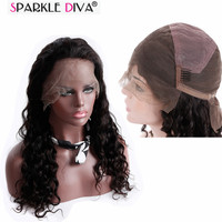 Sparkle Diva Natural Color Full Lace Wig Malaysian Loose Wave Remy Human Hair Wig Can Be Dyed Medium Brown Lace Tangle Free