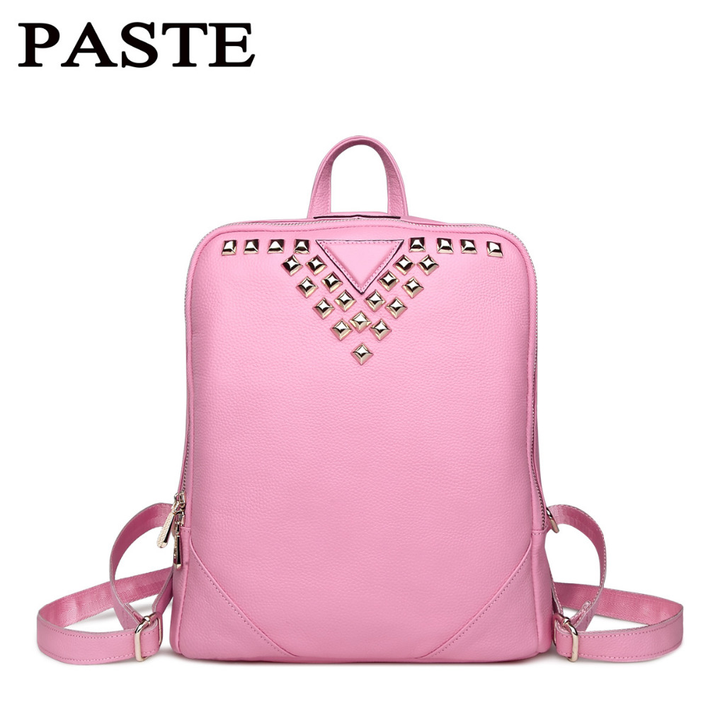 PASTE 100% Guarantee Natural Genuine Cow Leather women backpack Fashion Rivet decoration women bag Pink women's travel bags paste rock style genuine leather women backpack fashion rivet decoration women s travel bags soft cowskin women punk bag