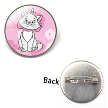 New Fashion Anime Cartoon Aristocats Glass Brooch Cute Cat Badge Jewelry Mary Men and Women Charm Gift Souvenir Accessories