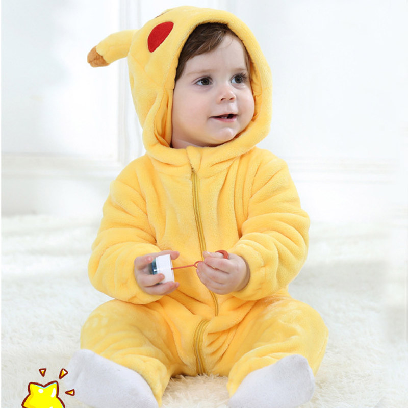 Pikachu Kigurumi Baby Onesie Anime Cosplay Costume Cute Infant Pajama Warm Soft Bodysuit Winter Home Wear Fancy
