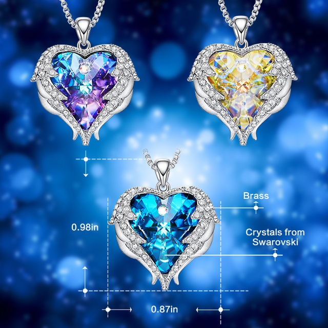 CDE Pendant Embellished with crystals from Swarovski Heart Necklace 3