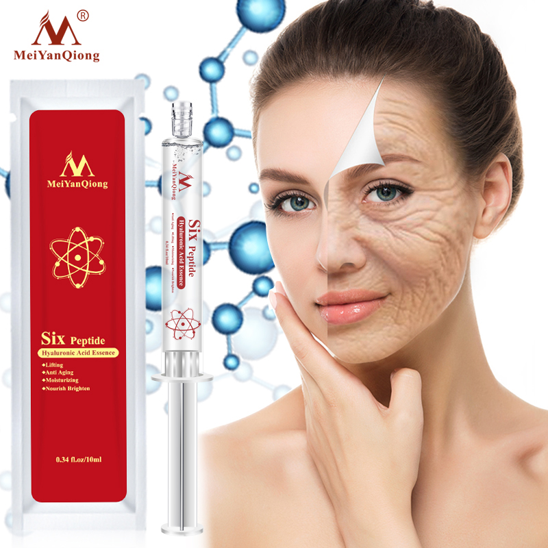 Six Peptide Hyaluronic Acid Shrink Pores Essence Anti Aging Anti Wrinkle Lifting Face Serum Skin Care Collagen Argireline in Serum from Beauty Health