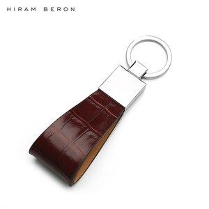 Hiram Beron мужской держатель для ключей из натуральной кожи брелок Металлический брелок пользовательское имя или первоначальное обслуживание ...