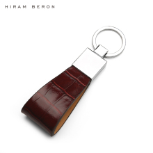 Hiram Beron Key Holder Men Genuine Leather Keychain Metal Key Ring Custom Name or initial service crocodile pattern dropship