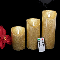 3pcs Set Remote Control Flameless Real Wax Votive Led Pillar Candle For Home Or Holiday Decoration