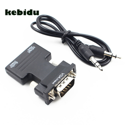 kebidu HDMI Female to VGA Male Converter with Audio Adapter Support 1080P Signal Output for Multimedia