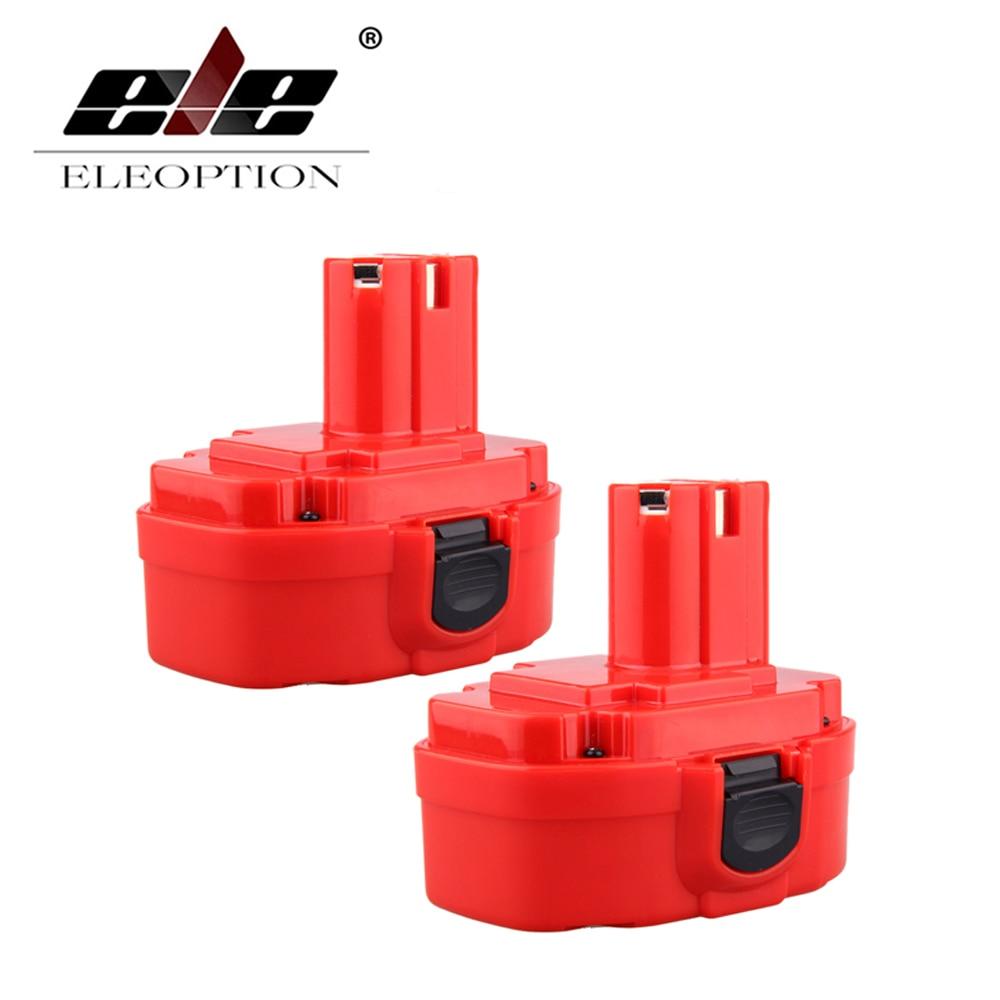 ELEOPTION 2PCS 18V 2000mAh Ni-CD Red Rechargeable Power Tool Battery for MAKITA 1822 1823 1834 1835 192827-3 192829-9 PA18 9 6v 2000 mah li ion battery power tool dcb125 de9036 9 6v 2000 vhj97 cp0 06
