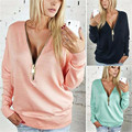 New 2016 Spring Sexy Women Long Sleeve Zipper V-Neck Casual Sweatshirt Ladies Shirt Tops Blusas