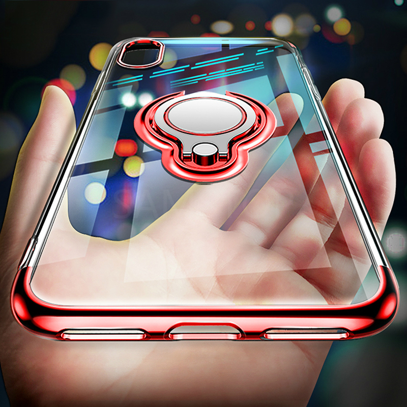Luxury Clear Magnetic car holder Case For iphone XR 6 6s 7 8Plus Transparent Plating TPU back Cover For iphoneX with Ring Holder iphone xr case magnetic