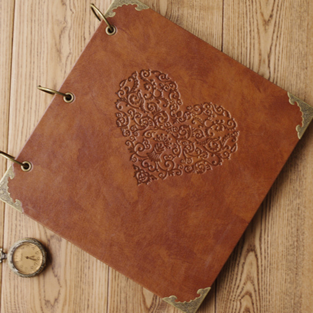 Personalized Vintage Photo Album Leather Baby Wedding Guestbook