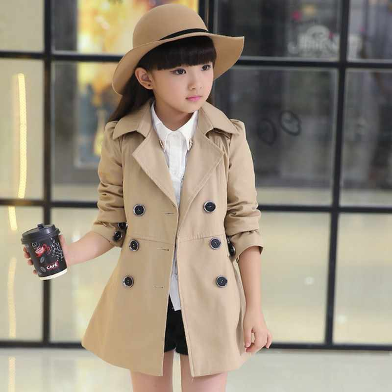New Girls Trench Coat  High Quality Khaki Pink and Red   Baby Jacket   Kurtki Dla Dzieci Girls Jacket 6BCT122