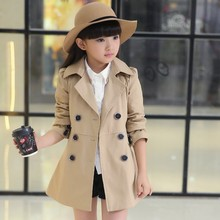 Girls Trench Coat  High Quality Khaki Pink and Red   Baby Jacket   Kurtki Dla Dzieci Girls Jacket цена