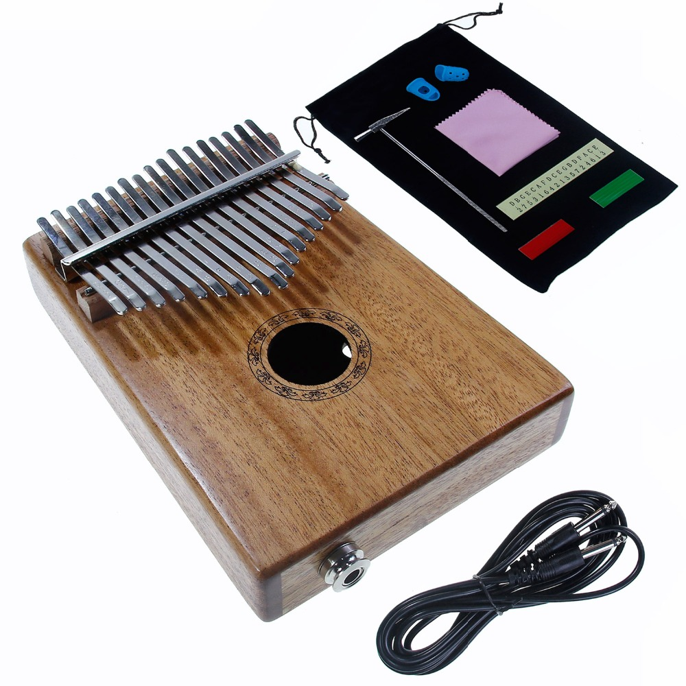 17 Keys Electric Kalimba Thumb Piano Mbira Solid Wood Keyboard Xmas Gift Toy Set