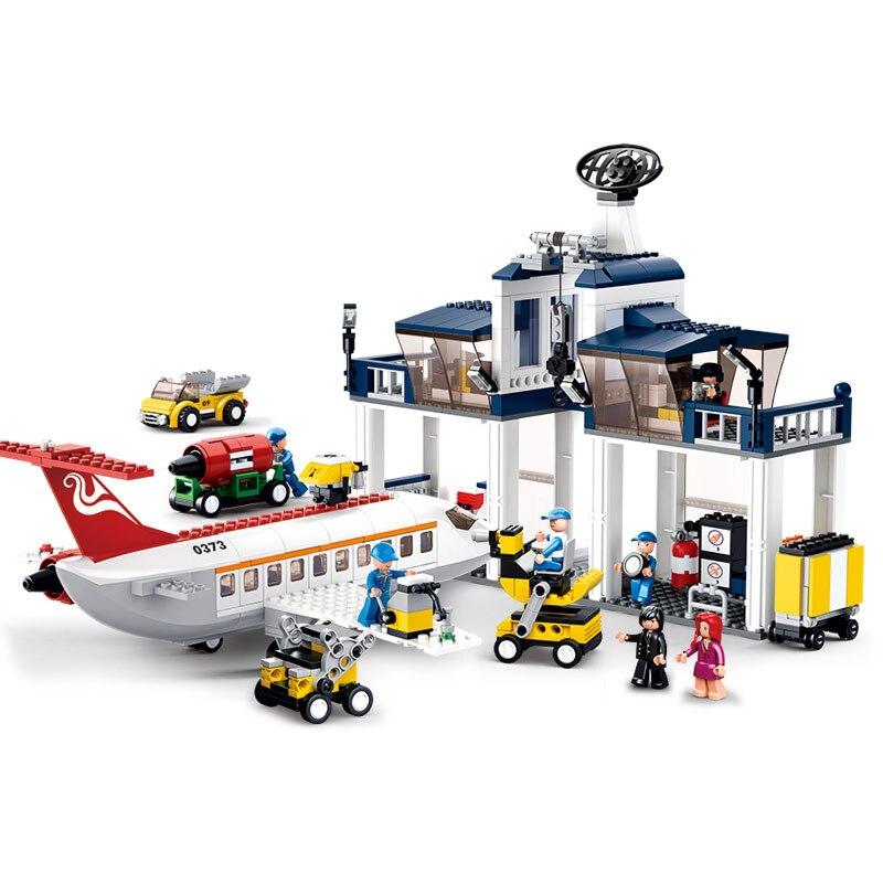 Models building toy 0373 826pcs Aviation City Small Aircraft Maintenance Building Blocks   toys & hobbies