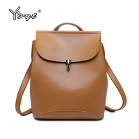 YBYT Brand 2017 New High Quality Solid Women Backpack PU Leather Female Black Travel Bag Student