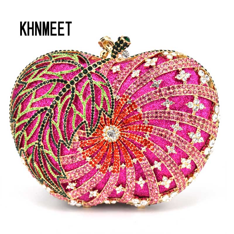 women clutch evening bag apple shape handmade diamante crystal ladies party clutch purse soiree pochette wedding Bride bag SC200 luxury crystal clutch handbag women evening bag wedding party purses banquet