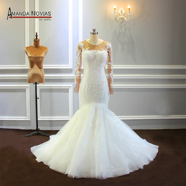 2019 Mermaid Wedding Dress With Long Sleeves Beading