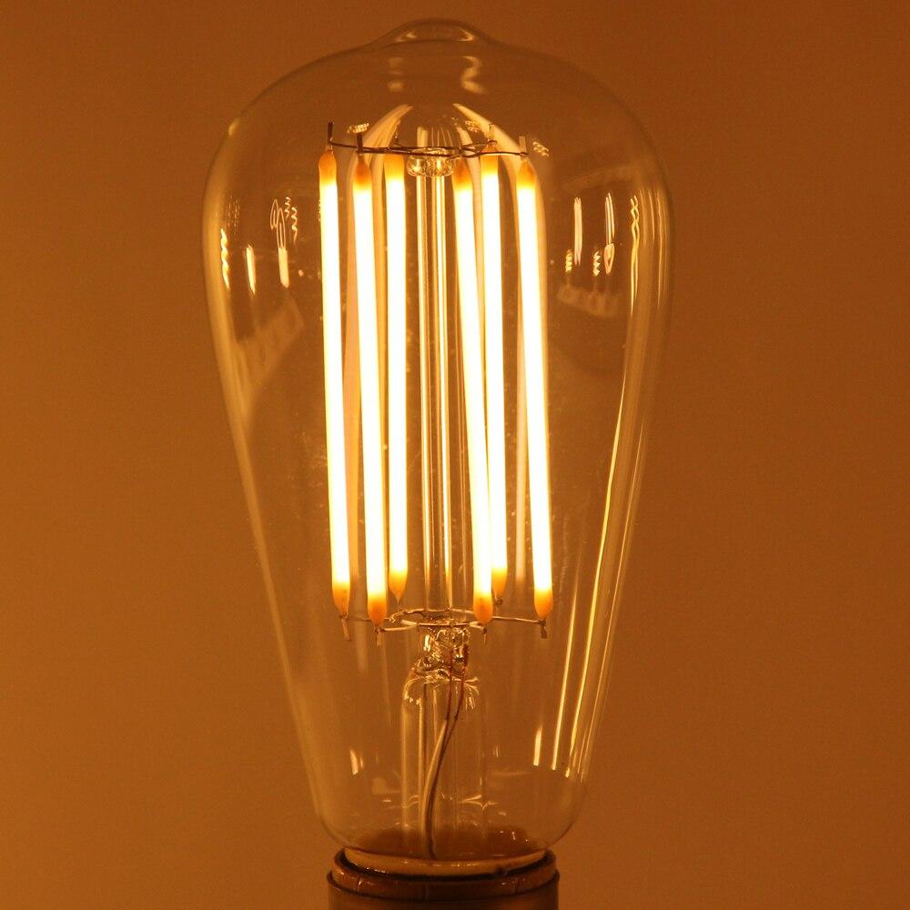 Uncleahtoh 4 шт./лот ST64 A19 4 Вт E26 E27 2700 К <font><b>360</b></font> Светодиодная лампа накаливания Теплый Белый лампы прозрачный Стекло свет для домашнего бара магазин