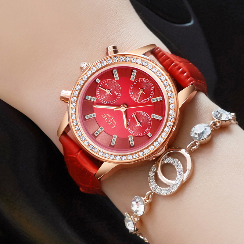 купить Relogio feminino Women Watches LIGE Luxury Brand Girl Quartz Watch Casual Leather Ladies Dress Watches Women Clock Montre Femme онлайн