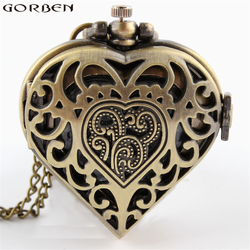 Heart-shaped Quartz Pocket Watch Hollow Beauty Bronze Exquisite Wonderful Present For Honey With Necklace Men Women Watches P71