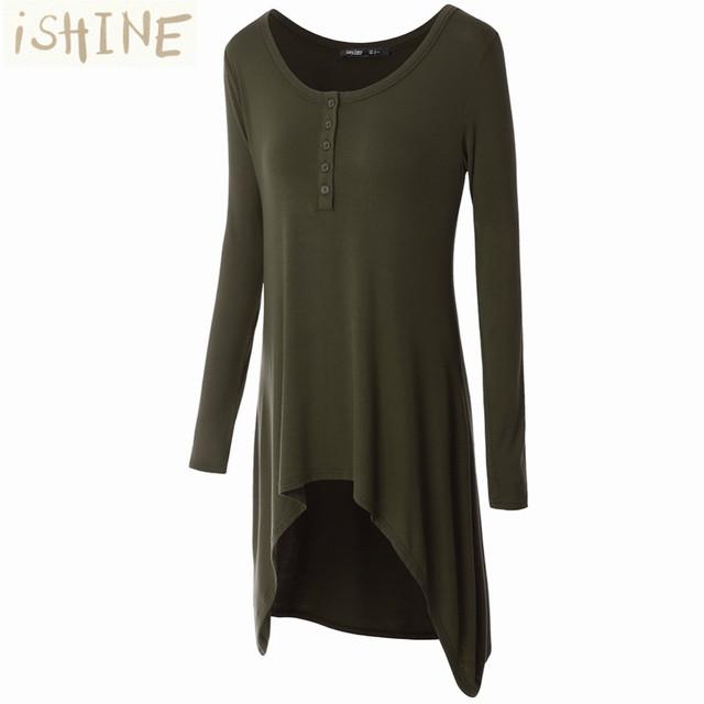 Camisa longa T Mulheres 2017 Primavera Outono Casual Botão Irregular Hem Tops Camisa Plus Size do Algodão T-Shirt