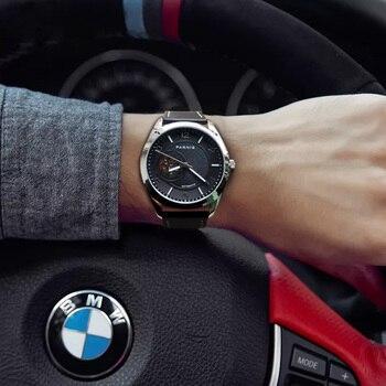 PARNIS 42 مللي متر الفضة حالة الرجال الساعات الأسود الهاتفي الياقوت الكريستال الميكانيكية التلقائي ساعة رجالي relojes الفقرة automaticos 2019
