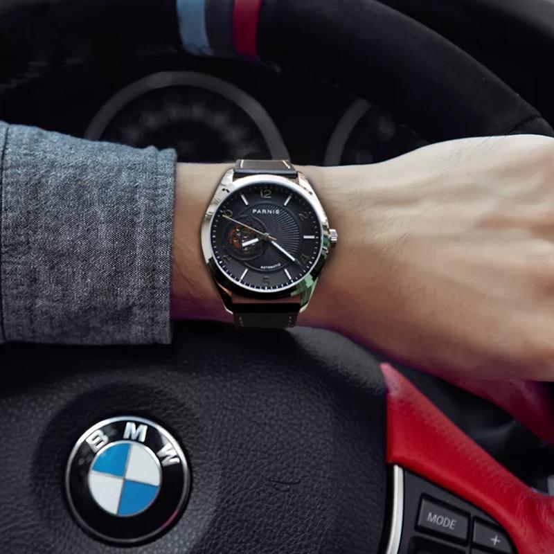 PARNIS 42 مللي متر الفضة حالة الرجال الساعات الأسود الهاتفي الياقوت الكريستال الميكانيكية التلقائي ساعة رجالي relojes الفقرة automaticos 2019-في الساعات الميكانيكية من الساعات على