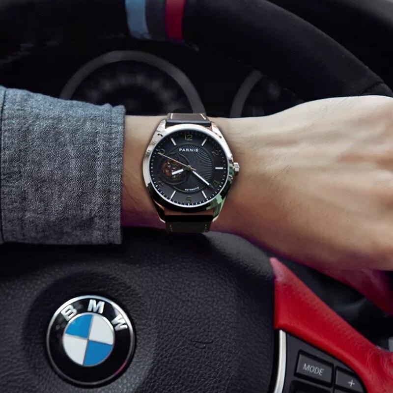 PARNIS 42MM srebrny futerał mężczyźni zegarki czarna tarcza szafirowy mechaniczny automatyczny męski zegarek relojes para automaticos 2019