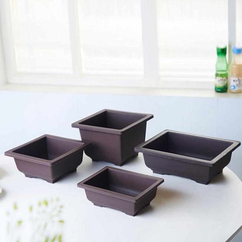 Us 0 87 40 Off Imitation Plastic Flower Pot Balcony Square Bonsai Bowl Nursery Basin Pots Planter Rectangle In