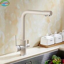 Высокое Качество Латунь отбеливающий смеситель для кухни очиститель воды две ручки на бортике вращения кухонной мойки смесители