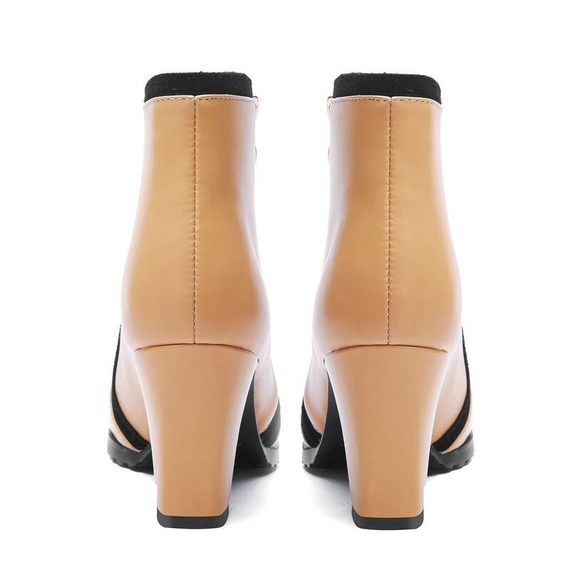 Pour noir Couleurs Apricot Talons Mixte Populaire Asumer Cheville Hiver Pointu Bout Élégant Femmes En 2018 Cuir Épais Nouveau Bottes Véritable yw0qcRFHc