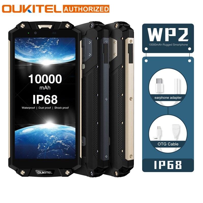OUKITEL WP2 IP68 étanche NFC 4G LTE Smartphone 10000 mAh 4 GB RAM 64 GB ROM 6.0 pouces 18:9 Octa Core téléphone portable à empreinte digitale