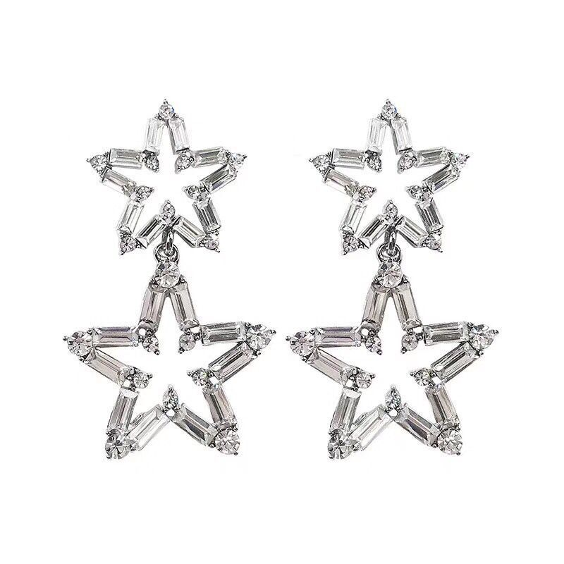 Luxury Big Star Drop Earrings For Women 19 New Rhinestone Party Statement Earrings Lucky Jewelry Korean Style 5