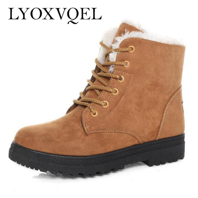 LYOXVQEL Women's Winter Fur Shoes Warm Ankle Snow Boots