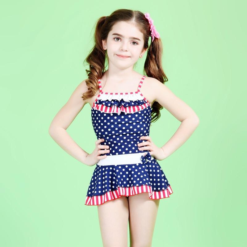 Dot One Piece Swimwear For Girls Children Bathing Suits -1607