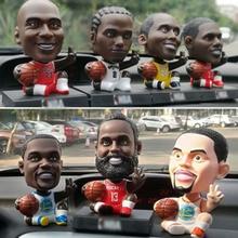 Basketball Star Car Decorations Smiley Shaking Head Dolls Cartoon Funny Robot Dashboard Ornaments accessories
