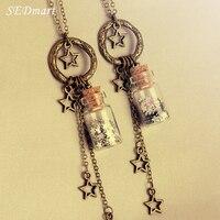 SEDmart Handmad Glitter Stars Glass Wish Bottle Pendant Necklace Custom Cute Bronze Pentastar Charm Tassel Necklace