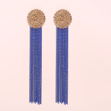 New Charm Pendant Earrings Exaggerated Tassel Round Temperament Ladies Party Retro Stainless Steel Long