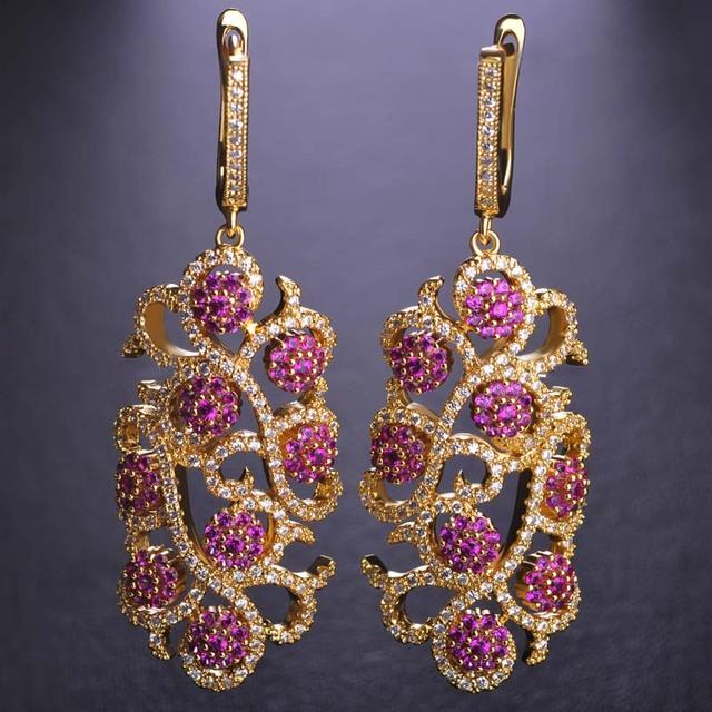 Blucome luxo flor & folha minúsculo simulado diamond drop brincos longos para as mulheres cristais completa cz zircon ródio banhado a ouro joyas