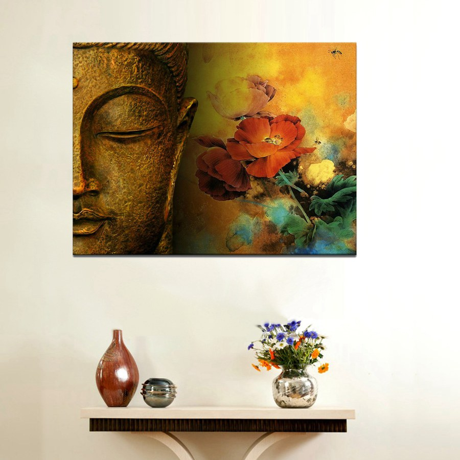 Large Canvas Print Buddha With Lotus Flower Canvas Wall Art Painting